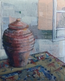 Ceramic Oil Jar and Kilim