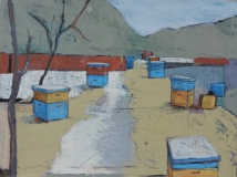 Beehives with Red Wall