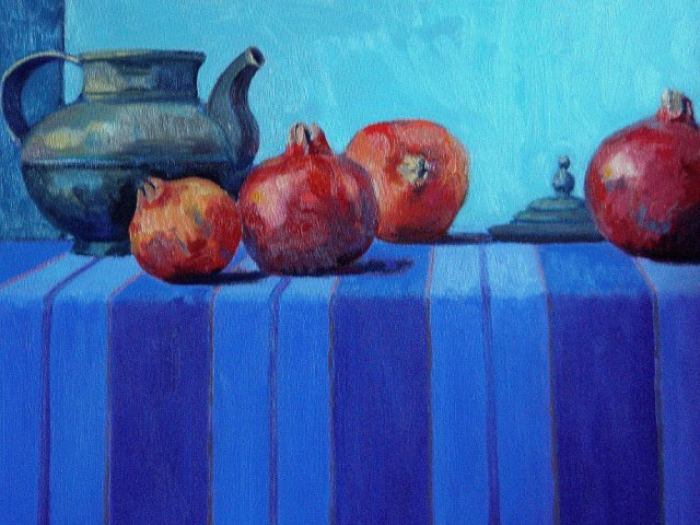 Still Life with Tibetan Teapot and Pomegranates