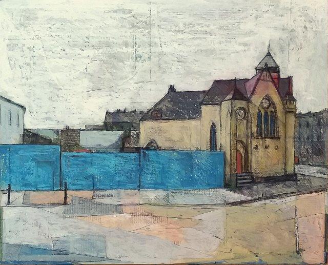 St Andrew's Ukrainian Church and Blue Hoarding, Leith