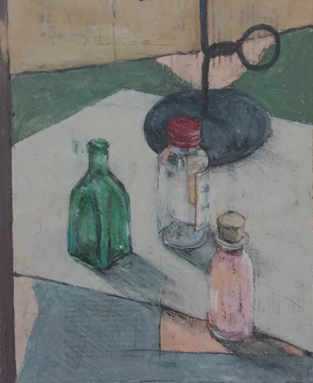 Small Glass Bottles and Candlestick